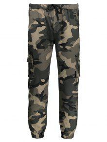 Drawstring Camouflage Jogger Pants - Khaki Xl