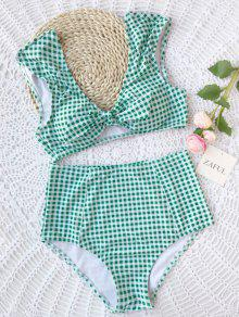 Checked Tie Front High Waisted Bikini - White And Green S