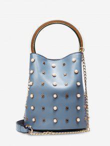 Chain Faux Pearls Bucket Bag - Blue