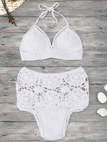 Conjunto De Bikini De Alta Costura De Ganchillo Acolchado - Blanco S