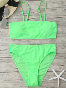 Padded High Cut Bandeau Bikini Set - Neon Green S