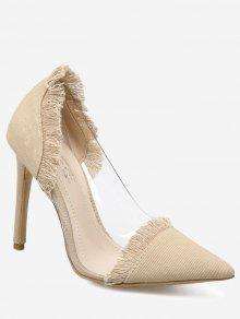 حذاء من الدينيم ذو كعب رفيع مزين بأهداب  - مشمش 39