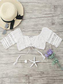 Lace Up Cover Up Crochet Top - White