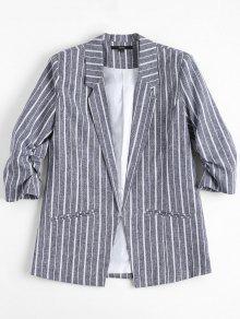 Gathered Sleeve Stripes Blazer - Stripe S