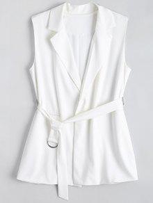 Long Belted Lapel Waistcoat - White S
