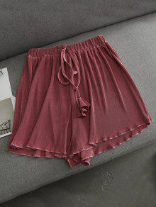Pleated Cover-Up Shorts - Russet-red