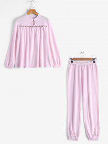 Loungewear Plaid Tee With Pants - Pink M