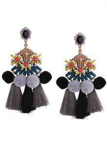 Pom Pom Tassel Pendant Earrings - Black