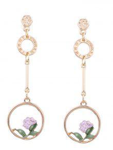 Flower Hoop Pendant Long Earrings - Pink
