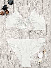 Eyelets Lace Up Bralette Bikini Set - White L