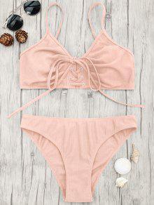 Eyelets Lace Up Bralette Bikini Set - Pink M