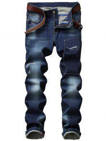 جينز سستة يطير خياطة مستقيم الساق ممزق  - أزرق 40
