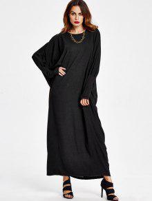 فستان فضفاض باتوينغ طويلة الأكمام ماكسي - أسود