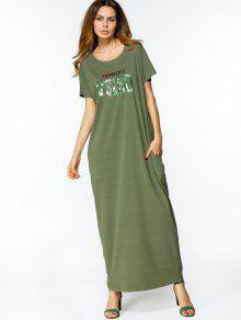 فستان مريح فضفاض طباعة الحرف ماكسي - الجيش الأخضر L