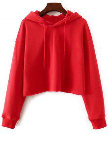 Pullover Cropped Sporty Hoodie - Red M