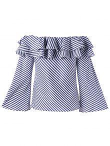 Striped Ruffle Off The Shoulder Blouse - Stripe 2xl
