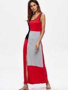 Sleeveless Contrasting Slit Maxi Dress - Multicolor L
