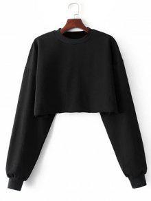 Sporty Cropped Sweatshirt - Black