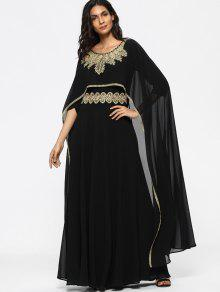 فستان كاب مطرز ماكسي - أسود L