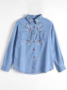 Button Up Floral Patched Pocket Shirt - Light Blue S