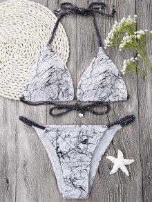 Halter Braided Straps Print Bikini Set - White M