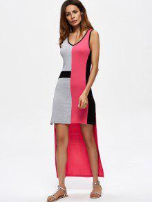 Color Block High Low Maxi Dress - Multicolor M