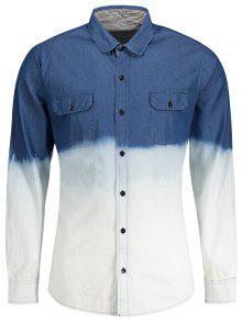 Pockets Ombre Denim Shirt - Blue Xl