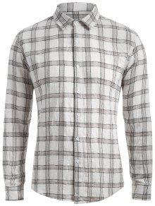 Cotton Blend Tartan Shirt - White M