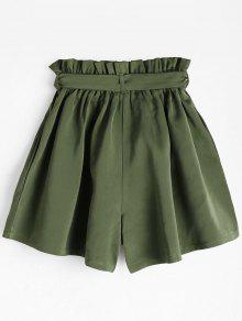 Smocked Belted High Waisted Shorts ARMY GREEN: Shorts ONE SIZE | ZAFUL