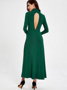 فستان طويلة الأكمام قطع ماكسي - أخضر M