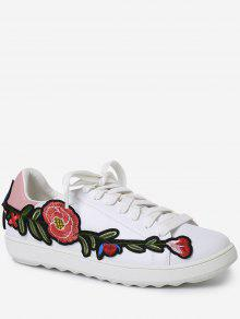 Faux Leather Floral Embroidery Sneakers - Pink 37