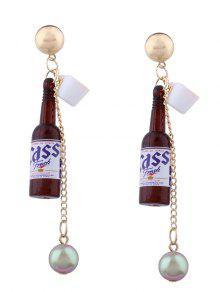 Wine Bottle Faux Pearl Pendant Earrings - Brown