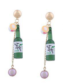 Wine Bottle Faux Pearl Pendant Earrings - Green