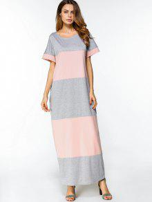 Casual Two Tone Maxi Tee Dress - Pink And Grey L