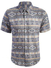 Short Sleeve Patterned Shirt - M