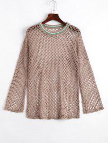 Loose Cut Out Contrasting Knitwear
