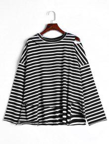 High Low Stripes Cold Shoulder T-shirt - Black