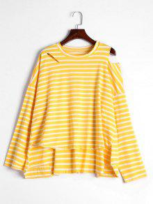 High Low Stripes Cold Shoulder T-shirt - Yellow