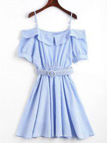 Checked Belted Cold Shoulder Mini Dress - Blue