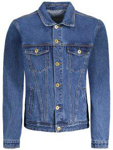Button Down Pockets Denim Jacket - Blue M