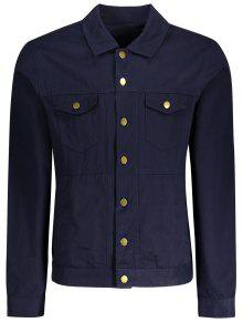 Letter Embroidered Jacket - Deep Blue M