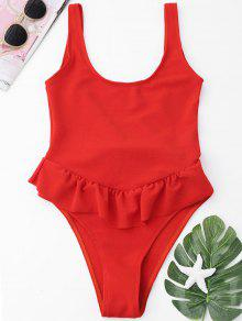 Ruffle High Cut One Piece Badeanzug - Roter Zirkon L