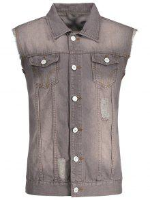 Button Up Ripped Jean Waistcoat - Coffee S