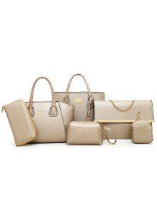 مجموعة الحقائب الكتف بنمط أرجيل بقطع ستة - ذهبي