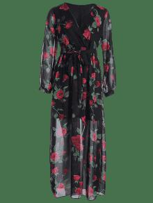 35% OFF  2019 Split Sleeve Floral Print Plunge Maxi Dress In FLORAL ... 8cae8a0f0