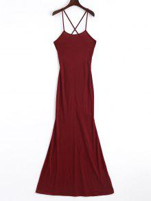 Criss Cross Cut Out Maxi Dress - Wine Red S