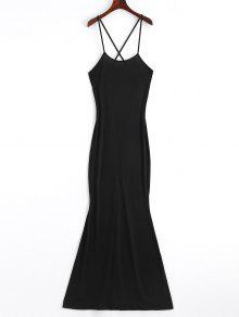 Criss Cross Cut Out Maxi Dress - Black M