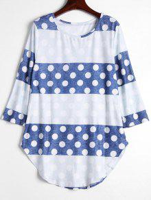 Polka Dot Contrast Long Tee - Dot Pattern Xl