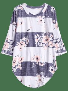 Gris De Del Larga Camiseta Flor La Blanco Contraste S wqxOx7Y5