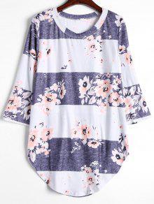 Camiseta Larga De La Flor Del Contraste - Gris Blanco S
